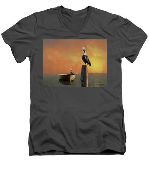 Sunset At Pelican Cove Men's V-Neck T-Shirt