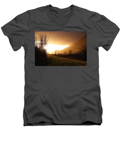 Sunset At Pitt Lake Dyke Men's V-Neck T-Shirt