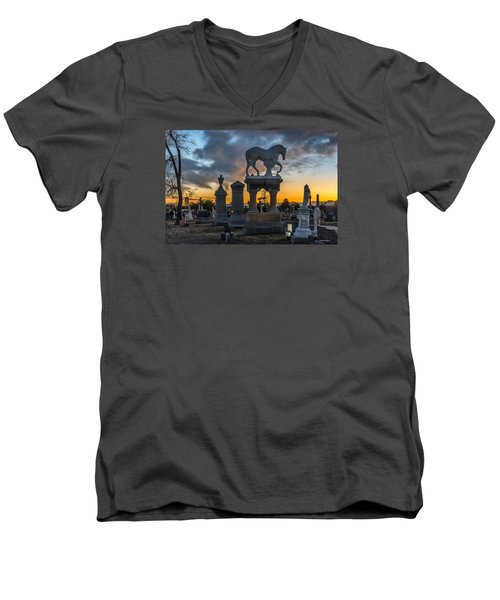 Men's V-Neck T-Shirt featuring the photograph Sunset At Riverside Cemetery by Stephen  Johnson