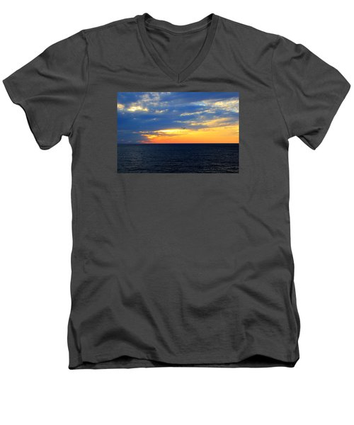 Men's V-Neck T-Shirt featuring the photograph Sunset At Sail Away by Shelley Neff
