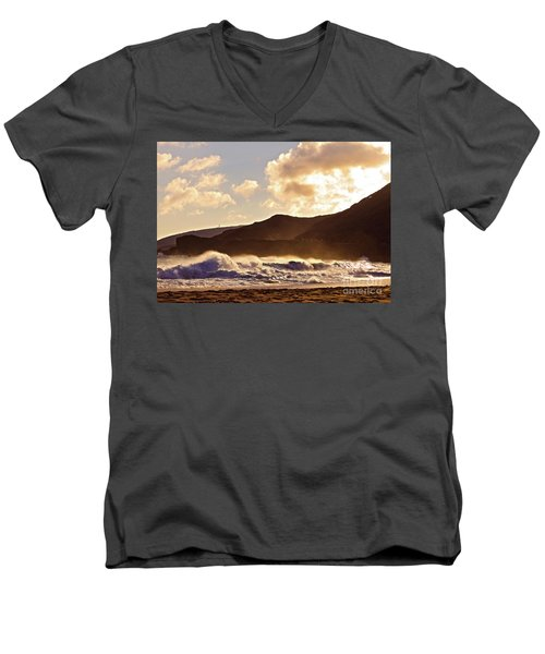 Sunset At Sandy Beach Men's V-Neck T-Shirt by Kristine Merc