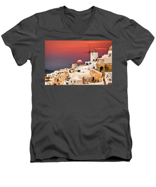 sunset at Santorini Men's V-Neck T-Shirt