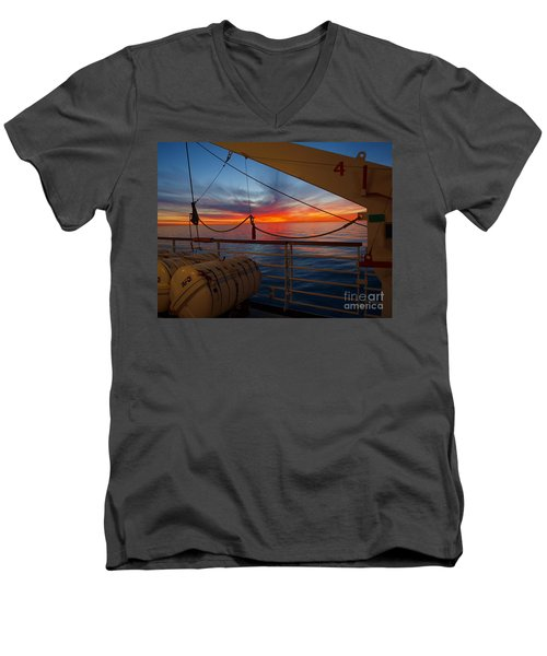 Sunset At Sea Men's V-Neck T-Shirt by Trena Mara