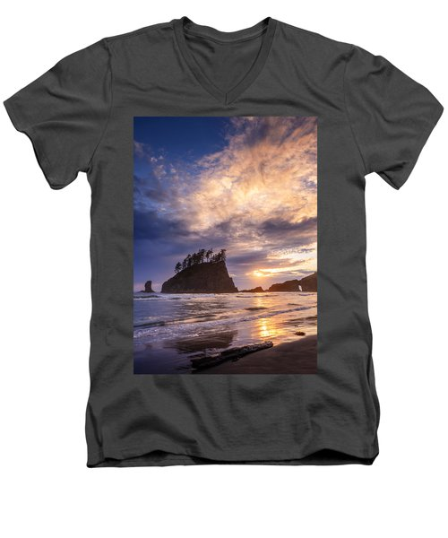 Men's V-Neck T-Shirt featuring the photograph Sunset At Second Beach by Dan Mihai