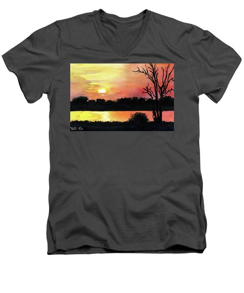 Men's V-Neck T-Shirt featuring the painting Sunset At Shire River In Malawi by Dora Hathazi Mendes