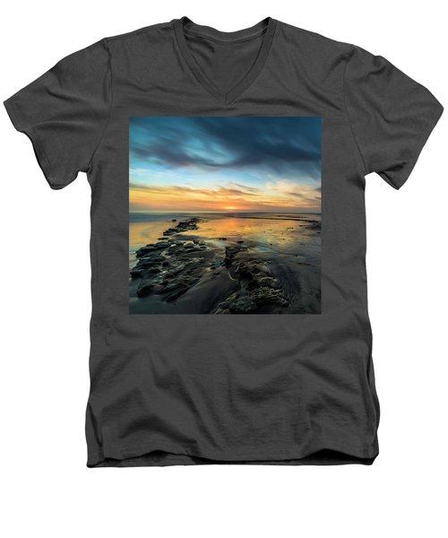 Sunset At Swamis Beach Men's V-Neck T-Shirt