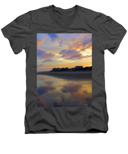 Sunset At The Beach Men's V-Neck T-Shirt by Betty Buller Whitehead