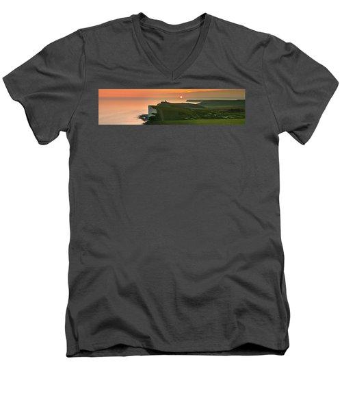 Sunset At The Belle Tout Lighthouse Men's V-Neck T-Shirt