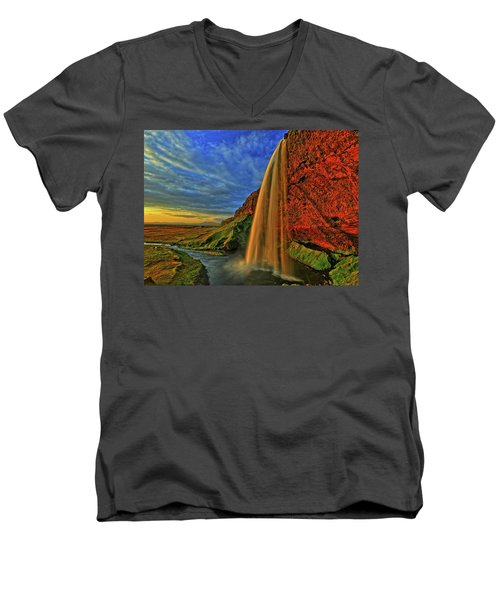 Men's V-Neck T-Shirt featuring the photograph Sunset At The Falls by Scott Mahon
