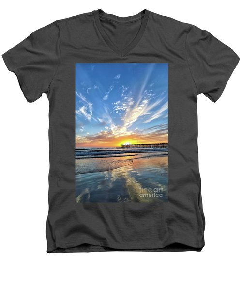 Men's V-Neck T-Shirt featuring the photograph Sunset At The Pismo Beach Pier by Vivian Krug Cotton