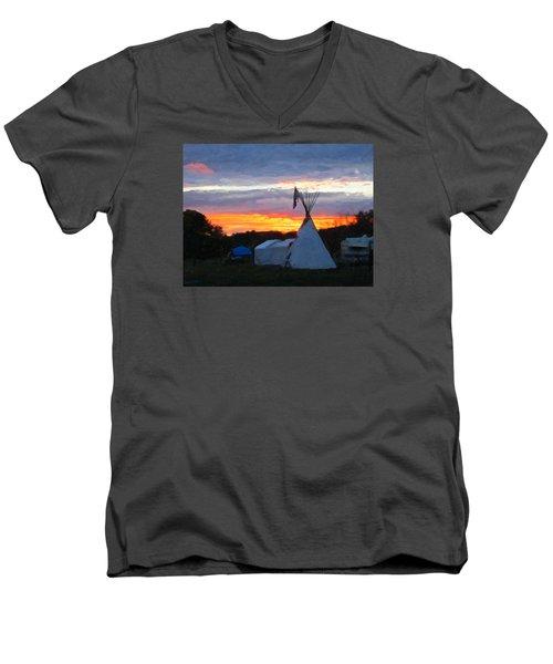 Sunset At The Powwow Men's V-Neck T-Shirt