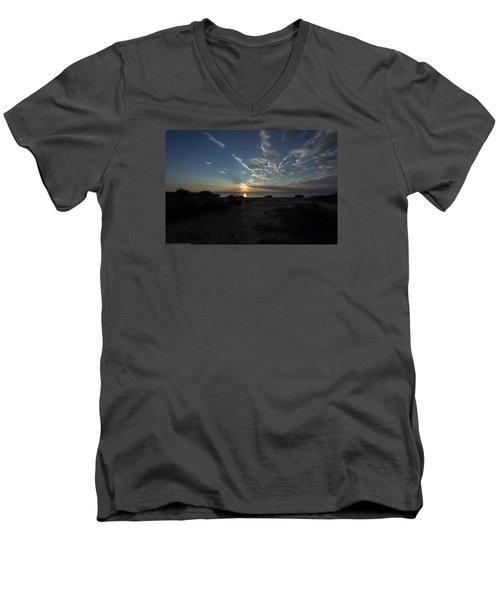 Sunset At Torrey Pines Men's V-Neck T-Shirt by Jeremy McKay