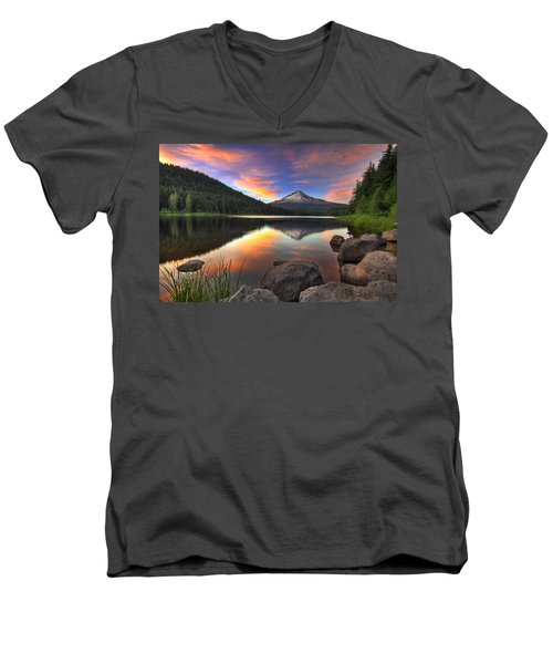 Sunset At Trillium Lake With Mount Hood Men's V-Neck T-Shirt