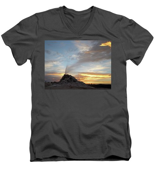 Sunset At White Dome Geyser Men's V-Neck T-Shirt