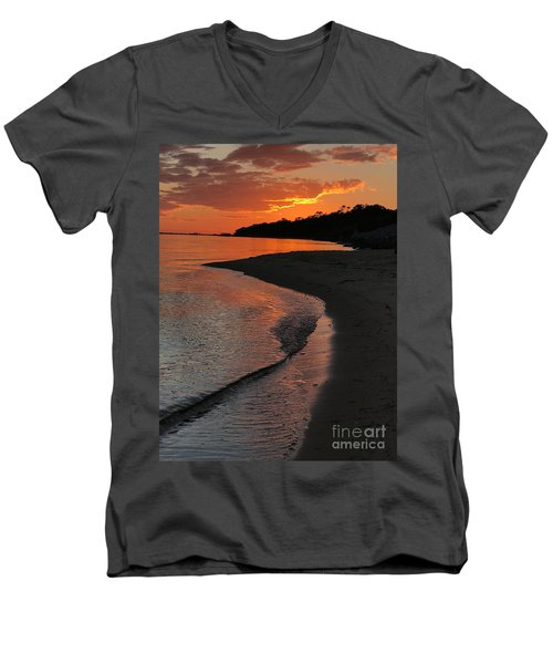 Men's V-Neck T-Shirt featuring the photograph Sunset Bay by Lori Mellen-Pagliaro