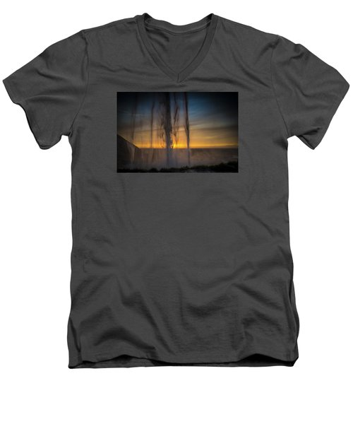 Sunset Behind The Waterfall Men's V-Neck T-Shirt by Chris McKenna