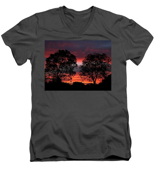 Sunset Behind Two Trees Men's V-Neck T-Shirt by Sheila Brown