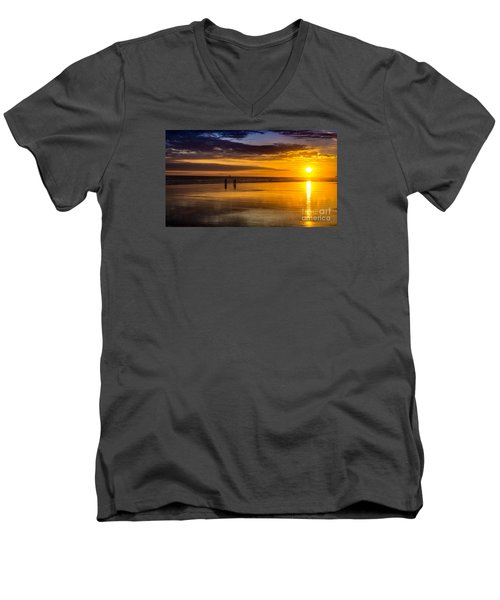 Sunset Bike Ride Men's V-Neck T-Shirt by David Smith