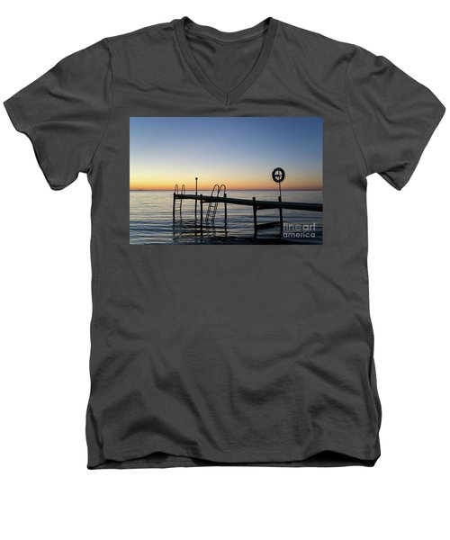 Sunset By The Old Bath Pier Men's V-Neck T-Shirt
