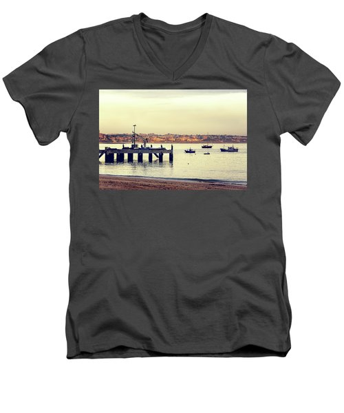 Men's V-Neck T-Shirt featuring the photograph Sunset By The Sea by Marion McCristall