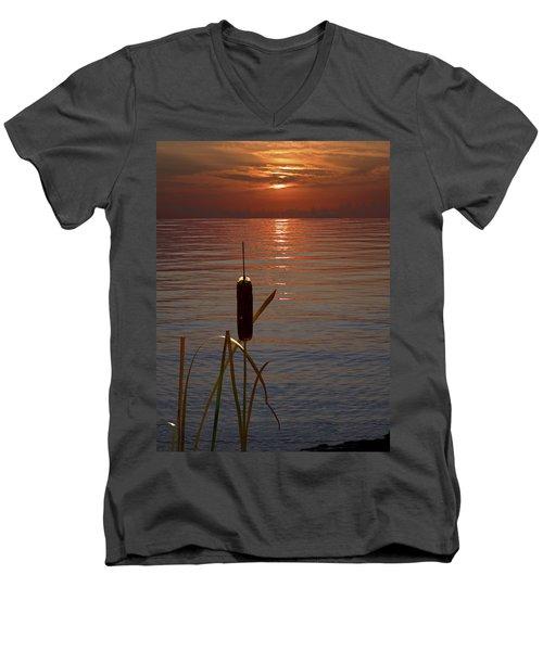 Sunset Cattail Men's V-Neck T-Shirt by Judy Johnson