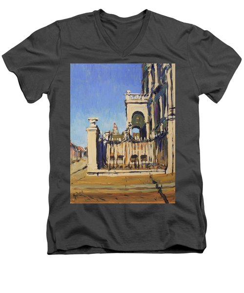 Sunset Cityhall Maastricht Entrance Men's V-Neck T-Shirt by Nop Briex