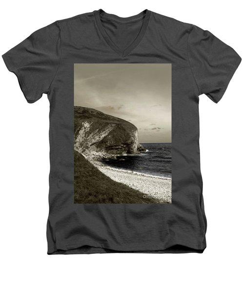 Sunset Cliff Men's V-Neck T-Shirt by Sebastian Mathews Szewczyk