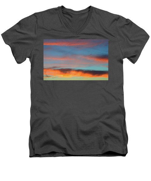 Sunset Clouds In Blue Sky  Men's V-Neck T-Shirt by Lyle Crump