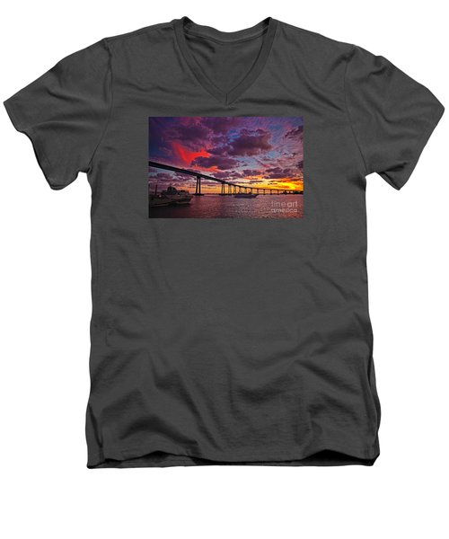 Sunset Crossing At The Coronado Bridge Men's V-Neck T-Shirt