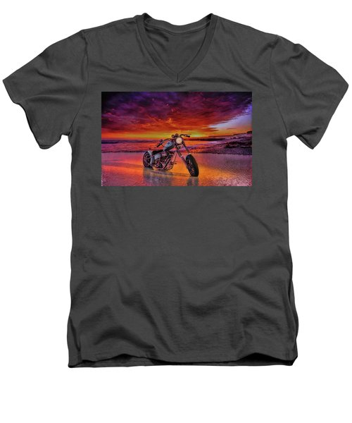 Men's V-Neck T-Shirt featuring the photograph sunset Custom Chopper by Louis Ferreira