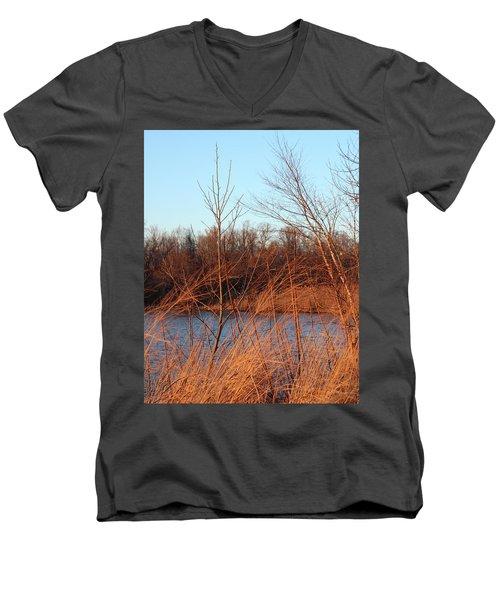 Sunset Field Over Water Men's V-Neck T-Shirt