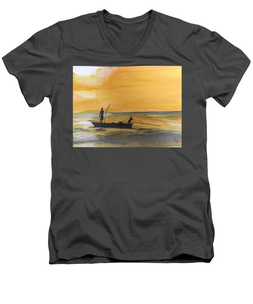 Sunset Fishing Men's V-Neck T-Shirt