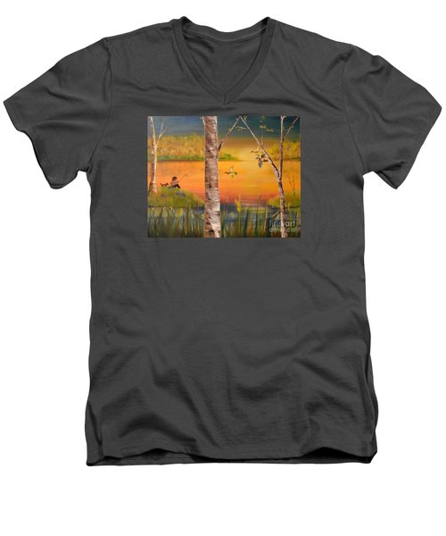 Men's V-Neck T-Shirt featuring the painting Sunset Fishing by Denise Tomasura
