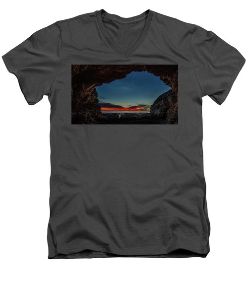Sunset From Brady's Cave Men's V-Neck T-Shirt