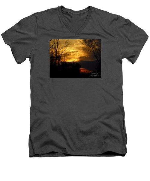 Sunset From Farm Men's V-Neck T-Shirt by Craig Walters