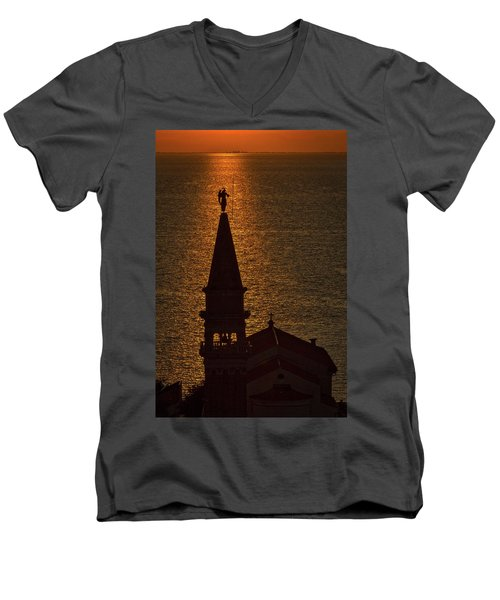Men's V-Neck T-Shirt featuring the photograph Sunset From The Walls #2 - Piran Slovenia by Stuart Litoff