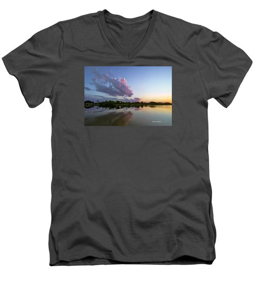 Men's V-Neck T-Shirt featuring the photograph Sunset Glow by Don Durfee