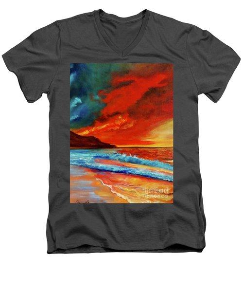 Sunset Hawaii Men's V-Neck T-Shirt by Jenny Lee