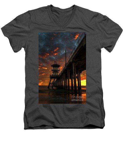 Sunset Huntington Beach Pier Men's V-Neck T-Shirt