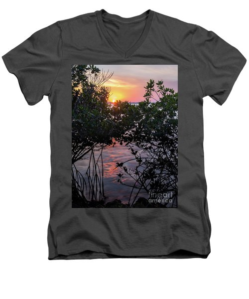 Sunset, Hutchinson Island, Florida  -29188-29191 Men's V-Neck T-Shirt