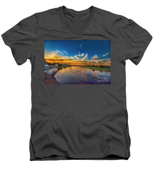 Sunset In Dresden Men's V-Neck T-Shirt by Pravine Chester