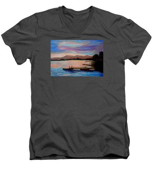 Sunset In Evia Men's V-Neck T-Shirt