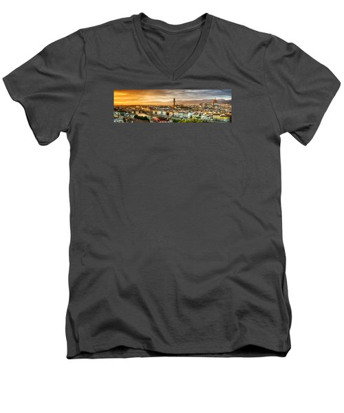 Sunset In Florence Men's V-Neck T-Shirt