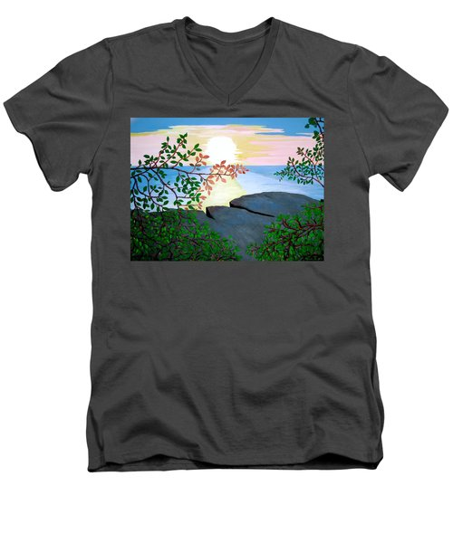Men's V-Neck T-Shirt featuring the painting Sunset In Jamaica by Stephanie Moore