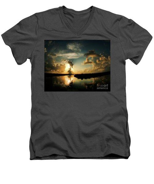Sunset In Lacombe, La Men's V-Neck T-Shirt by Luana K Perez