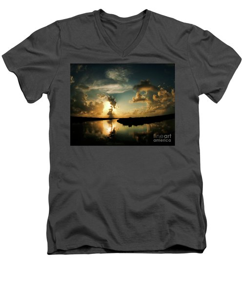 Sunset In Lacombe, La Men's V-Neck T-Shirt