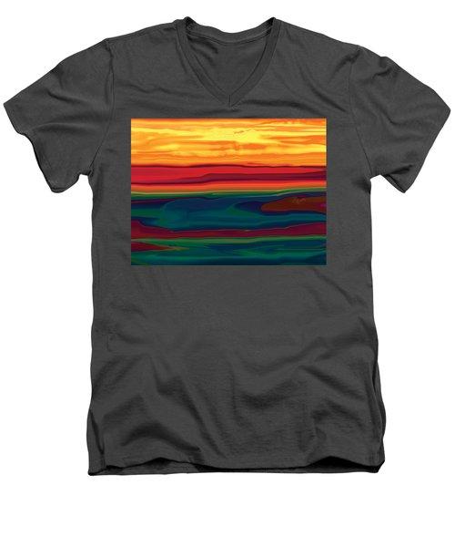 Sunset In Ottawa Valley Men's V-Neck T-Shirt by Rabi Khan