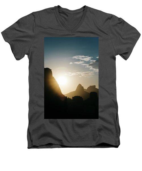 Sunset In Rio De Janeiro, Brazil Men's V-Neck T-Shirt