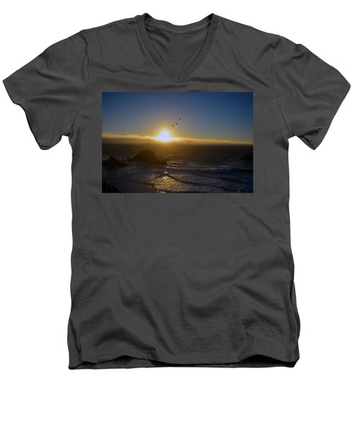 Sunset In San Francisco Men's V-Neck T-Shirt