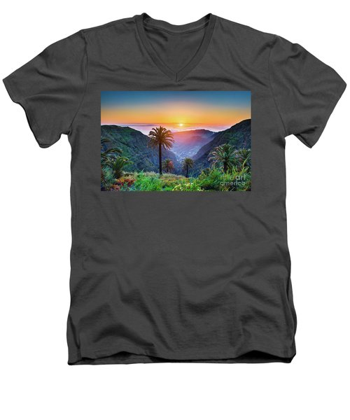 Sunset In The Canary Islands Men's V-Neck T-Shirt by JR Photography